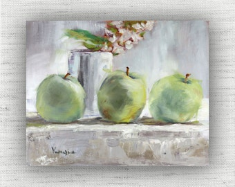 Apple Painting Print of Still life Oil Painting Home Decor Wall Art - Green Kitchen Food Room Decor - Shabby Chic Dining Room Art Print