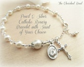 Catholic Saint/Medal of your choice on Beautiful Pearl and Silver Rosary Bracelet