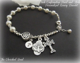 Irish Confirmation Pearl and Sterling Personalized Rosary Bracelet with Holy Spirit