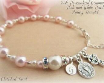 Irish Communion LIght Pink and White Personalized Rosary Bracelet