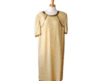Vintage New Years Gold Beaded Sequin Dress - Women Silk Sack Dress, Large