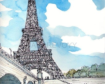 Paris, Eiffel Tower,  France art print from an original watercolor painting