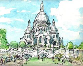 Paris Sacre Coeur art  print from an original watercolor painting