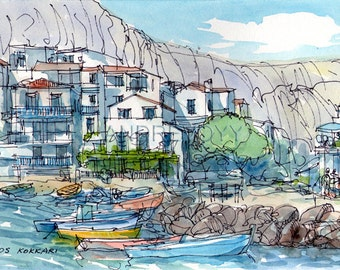Samos Kokkari Greece art print from an original watercolor painting