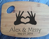 Personalized laser engraved bamboo cutting board wedding gift handmade Hands Heart Love