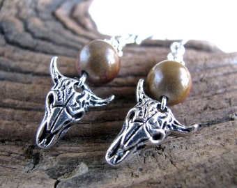 Southwest Style Silver Steer Skulls and Reddish Brown Jasper Long Dangly Earrings