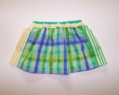 Little girl skirt blue green plaid stripes pockets preppy yellow white twirly skirt Pip skirt pull-on elastic waist skirt