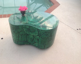 FAUX MALACHITE SIDE Table Hand Painted Trompe l'oiel Table Hollywood Regency Style at Retro Daisy Girl