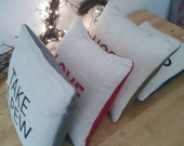 Reserved for Gillian - HOPE hand printed cushion.