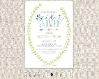 Spring Vine Bridal Shower Invitation - Digital Printable