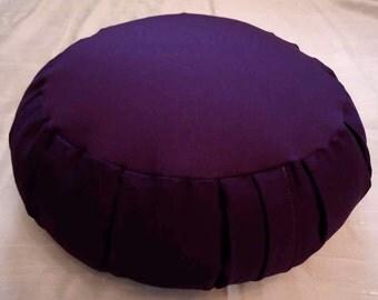 Purple Zafu meditation cushion with side handle, cotton fabric, buckwheat hull fill, all natural, handmade