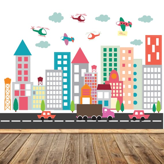 Vinyl Wall Decal Wall Decals City Wall Decal Nursery Wall - Wall decals city