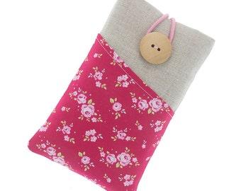 Floral iPhone 6 fabric case, iPhone 7 case, iPhone 7 Plus pouch, iPhone 6s/Plus case, iPhone 5 fabric case, padded iPhone SE case, iPod case