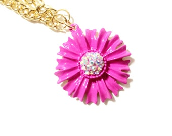 Bright Pink Daisy Flower Necklace with 16 inch bright gold colored chain