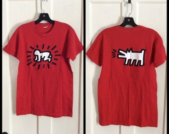 Vintage 1980's Keith Haring Pop Art Baby Dog T-shirt size Medium