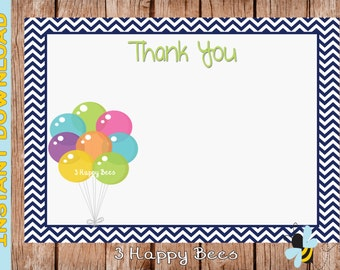 Party Balloon Thank you card. Instant download