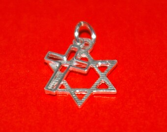 Messianic Star of David and Cross Two Charms Pendant - Real Sterling Silver 925 - Free Shipping Worldwide