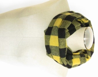 Black and Yellow Buffalo Check Scarf - Yellow Wool Scarf - Yellow Buffalo Scarf