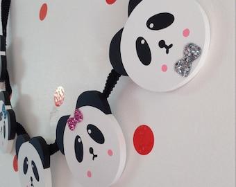 Panda Garland...Wooden Panda Garland..Panda..Panda Bunting, Wall Decoration, Monochrome Decoration
