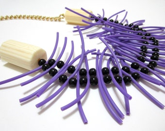 Purple Rubber Silicone Black Beads Golden Chain Handmade Statement Necklace