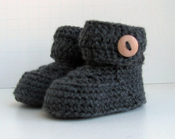 merino wool short baby booties handmade knitted boys girls ugg style button cuff boxed shoes in charcoal gray size 0 to 6 months