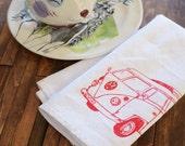 Cloth Napkins - Eco Friendly Dinner Napkins - Screen Printed Cotton Cloth Napkins - Reusable Cotton Napkins - VW Bus - Handmade