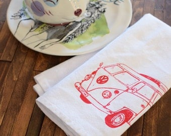 Cloth Napkins - Eco Friendly Dinner Napkins - Screen Printed Cotton Cloth Napkins - Reusable Cotton Napkins - VW Bus - Handmade