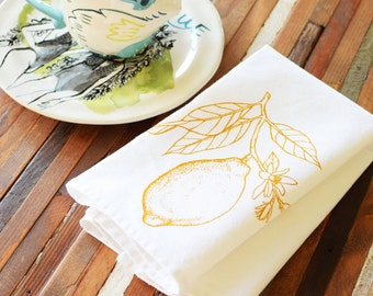 Cloth Napkins - Screen Printed Cotton Cloth Napkins - Eco Friendly Dinner Napkins - Lemon - Lime - Citrus - Farmhouse - Handmade Napkins