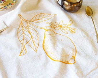 Tea Towel - Screen Printed Flour Sack Towel - Dish Towel - Lemon - Citrus - Flour Sack - Cotton Kitchen Towel - Botanical - Mothers Day Gift