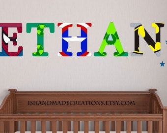 Super Heroes Repositionable Wall Decal  Personalized Initial Name  Wall Decal perfect decoration for nursery or playroom