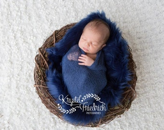 Navy Blue Mongolian Faux Fur Rug Nest Photography Photo Prop Newborn Baby Toddler