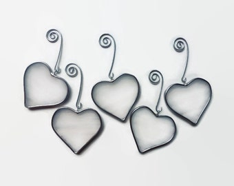 Stained Glass Hearts - Set of 5 White Valentine's Day Ornaments, Window Decor