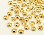 ME-189-GD / 20 Pcs - Hammered Mini Ring Centrepiece, 16K Gold Plated over Brass / 4.4mm