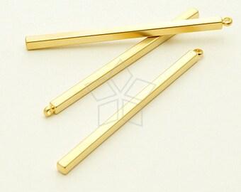 PD-954-MG / 2 Pcs - Long Stick Bar Pendant, Matte Gold Plated over Brass / 42mm