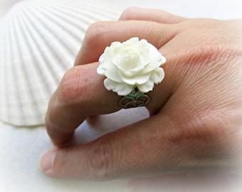 White Rose Filigree Adjustable ring