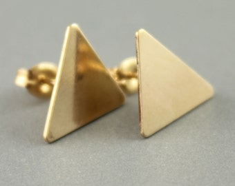 Geometic Triangle Stud Earrings, Triangle Stud Earrings, Small Gold Stud Earrings, Everyday Earrings, Small Triangle Studs, Gift Ideas