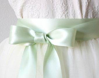 Mint Green Wedding Sash - Light Green Sash, Seafoam Sash, Satin Ribbon Belt, Mint Bridal Sash, Bridesmaid Sash, Flower Girl Sash, Mint Sash