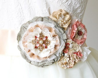 Wedding Dress Belt, Floral Bridal Sash, Fabric Flower, Colorful Sash, Sashes, Belts, Coral, Pink, Peach, Grey, Vintage, Rustic, Corsage