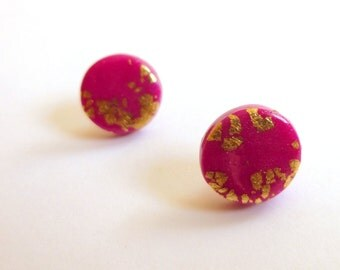 Pink Stud Earrings Hot Pink Stud Earrings Fuschia Stud Earrings Pink Round Stud Earrings Pink Circle Stud Earrings Hand Made