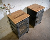 Reclaimed Wood and Recycled Steel End Cabinets
