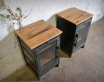Reclaimed Wood and Recycled Steel End Cabinet