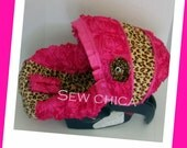 Hot Pink Satin 3D Roses/Leopard Minky Infant Baby Car Seat Cover w Bling Flower-REady To Ship