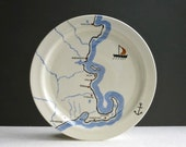 Vernon Kilns Maine and Cape Cod Coastline Dinner Plate Nautical Dinnerware 10 1/2 inches