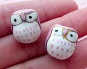 Owl Ceramic Bead / Animal Pottery Bead / Bird Porcelain Bead (2pcs / 14mm x 15mm / Light Purple & White) Handpainted Focal Bead CHM2072