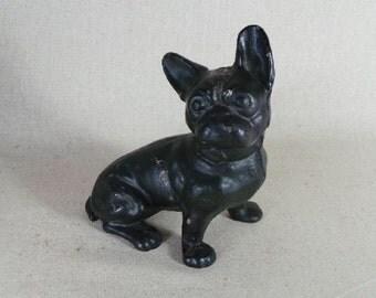 Hubley Cast Iron French Bulldog Door Stop / Boston Terrier /  Petite Dog
