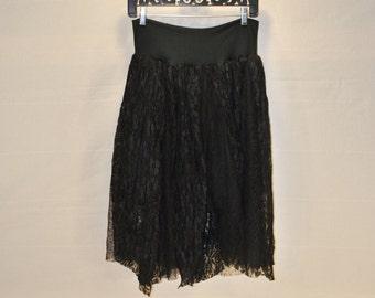 Tattered black lace skirt small