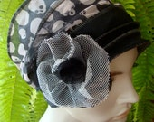 Charcoal grey and white  Skull Print Goth Chemo headwear alopecia chemo hat autumn winter with Tulle flower