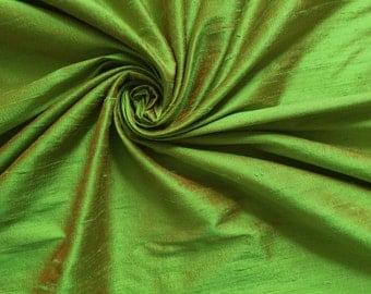 Green Orange iridescent 100% Dupioni Silk Fabric Wholesale Roll/ Bolt