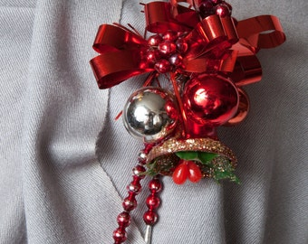 Vintage Red Christmas Corsage