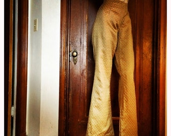 60s Gold Bell Bottom Pants with Sparkly Gems                     International Shipping